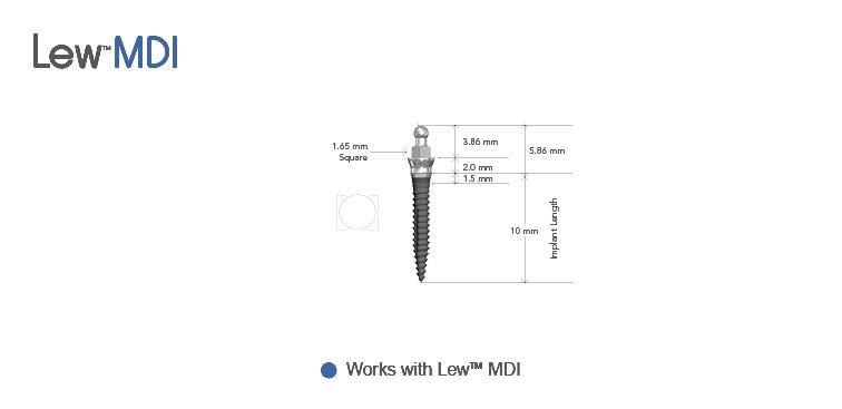 Lew™ MDI 2.0 mm O-Ball Collared Implants
